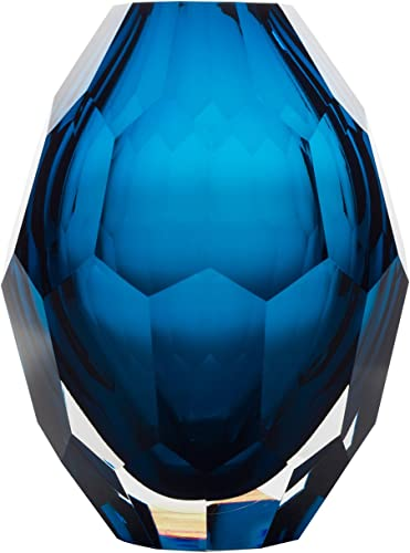 Home Decor Accent Vase Diamond Shape Solid Color Hand Blown Art Glass Vase, Blue