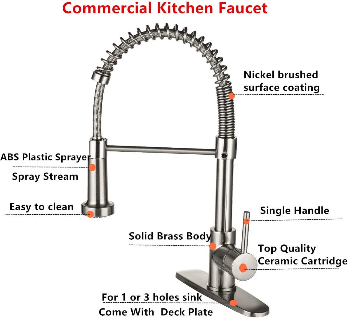 Ntipox Kitchen Faucets Low Lead Commercial Solid Brass Single Handle Single Lever Pull Down Sprayer Spring Kitchen Sink Faucet Brushed Nickel