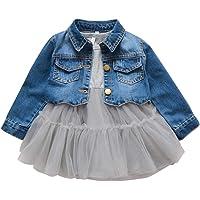 2 Piezas Bebé Niñas Conjuntos de Ropa Manga Larga Vestido Tutú Y Chaqueta de Mezclilla Jacke Primavera Otoño Gris 1-2…