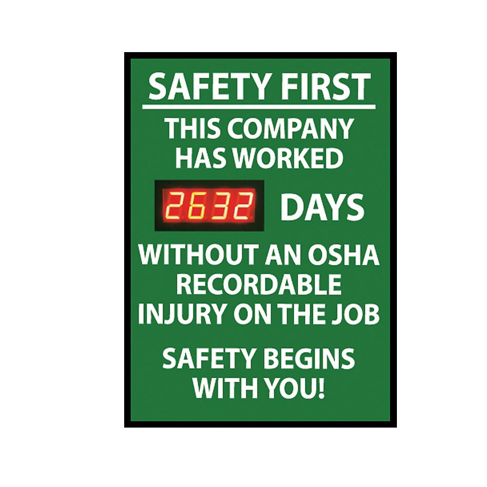 NMC DSB5 Digital Scoreboard, ''Safety First - This Company Has Worked XXXX Days Without An OSHA Recordable Injury On The Job...'' 20'' Width X 28'' Height, Rigid Plastic, White On Green