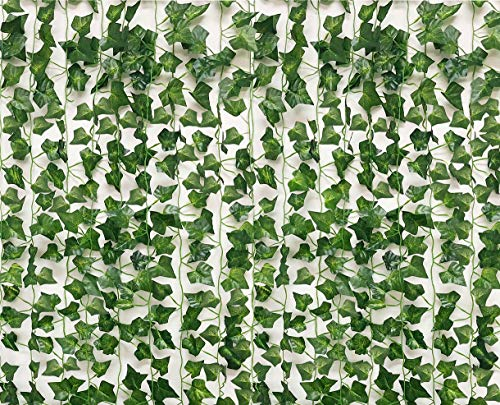 See Greeen 14 Pieces 98 feet Ivy Garland Jungle Theme Party Supplies Decorations Safari Artificial Vine Leaf Garland Fake Moss Table Runner Balcony Wall Wedding Classroom Backdrop Leaves. for $<!--$12.99-->