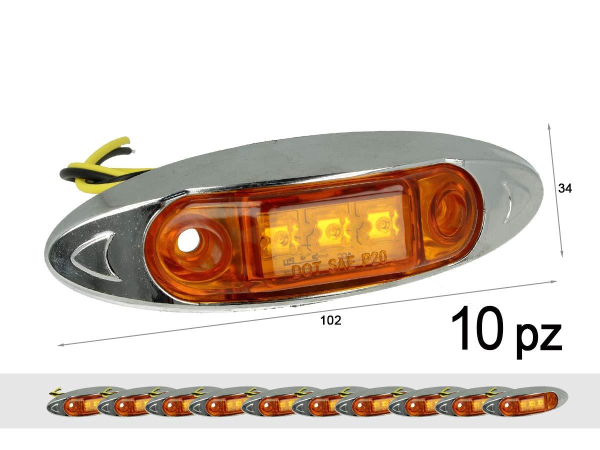 A2ZWORLD CARALL TF2410A 10 Pezzi Fanali Laterali LED 24V 12V Colore Arancione per Luci Ingombro Cortesia Targa Cupola Cappa Camper Trattore Autocarro Barca