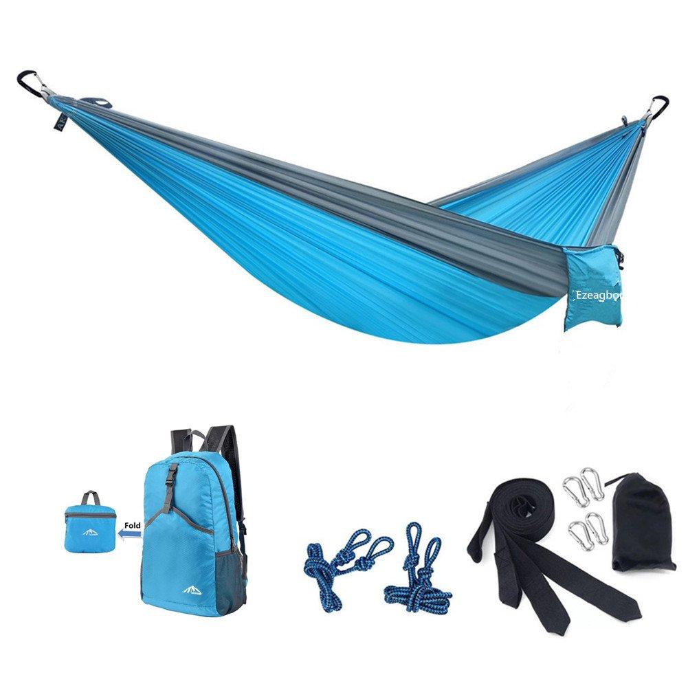 Hammocks Camping Garden Hammock Ultralight Portable Nylon Parachute Multifunctional Lightweight Hammocks with 2 x Hanging Straps for Backpacking, Travel, Beach, Yard (270x140 cm, Blue) by Ezeagbor