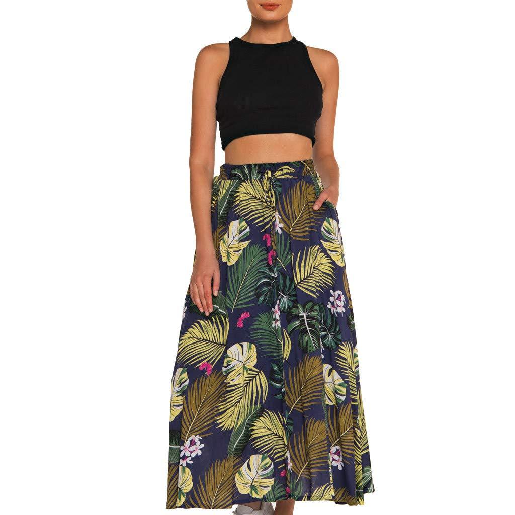 Skirt Ladies, Long Fashion Bohemian Print Dress Flexible High Waist Beach Skirt A-Line Pleated Skirt Outdoor Party Dresses Leisure Vacation Floral Skirts -TWinmar