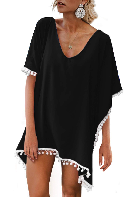 Adreamly Women's Pom Pom Trim Kaftan Stylish Chiffon Swimsuit Beach Cover up Free Size Black