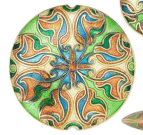 3 Piece Coin Cloisonne Gold Green Blue Coin Beads Set Perfect for Earrings, Necklaces or Bracelets
