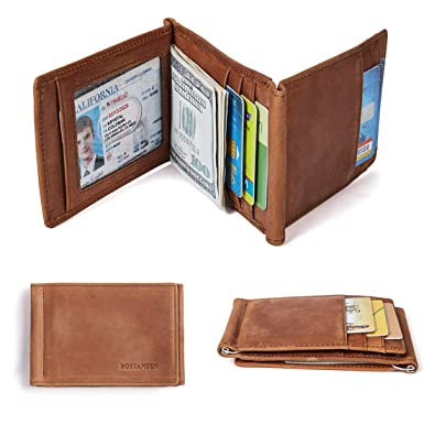 b5f5b9860e2 Image Unavailable. Image not available for. Color  BOSTANTEN Men s RFID  Blocking Wallet Genuine Leather Slim Trifold Wallets Minimalist Card Holder  ...