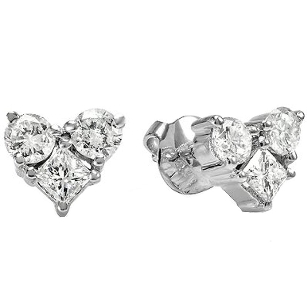 1.00 Carat (ctw) 14K White Gold Round & Princess White Diamond Heart Shaped Stud Earrings