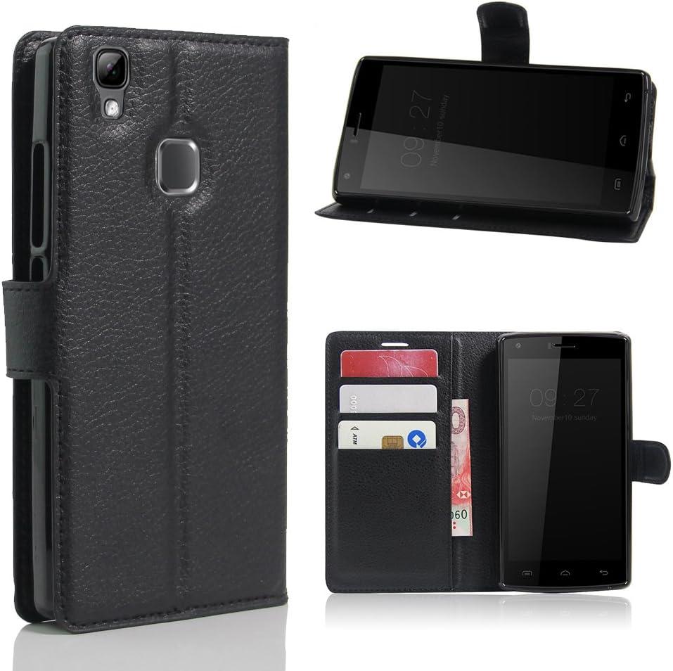 avidet DOOGEE X5 Max Pro móvil – Alta calidad PU Funda de piel estilo libro with Kickstand Card Holder Para DOOGEE X5 Max Pro negro negro: Amazon.es: Informática