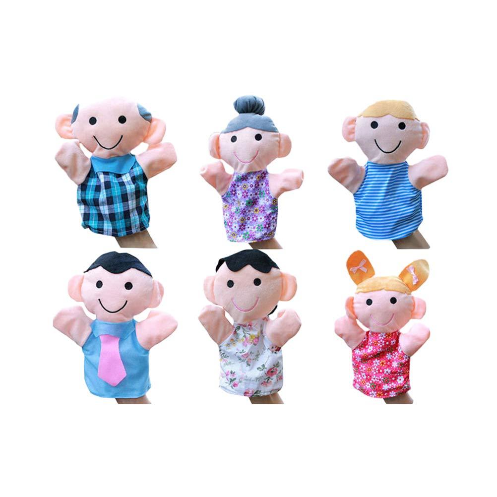 YeahiBaby 6pcs en Peluche Doigt marionnettes Jouets Famille Doigt poup/ée Main Jouets pour Enfants b/éb/és Parler Histoire Enfants Cadeaux danniversaire Cadeaux