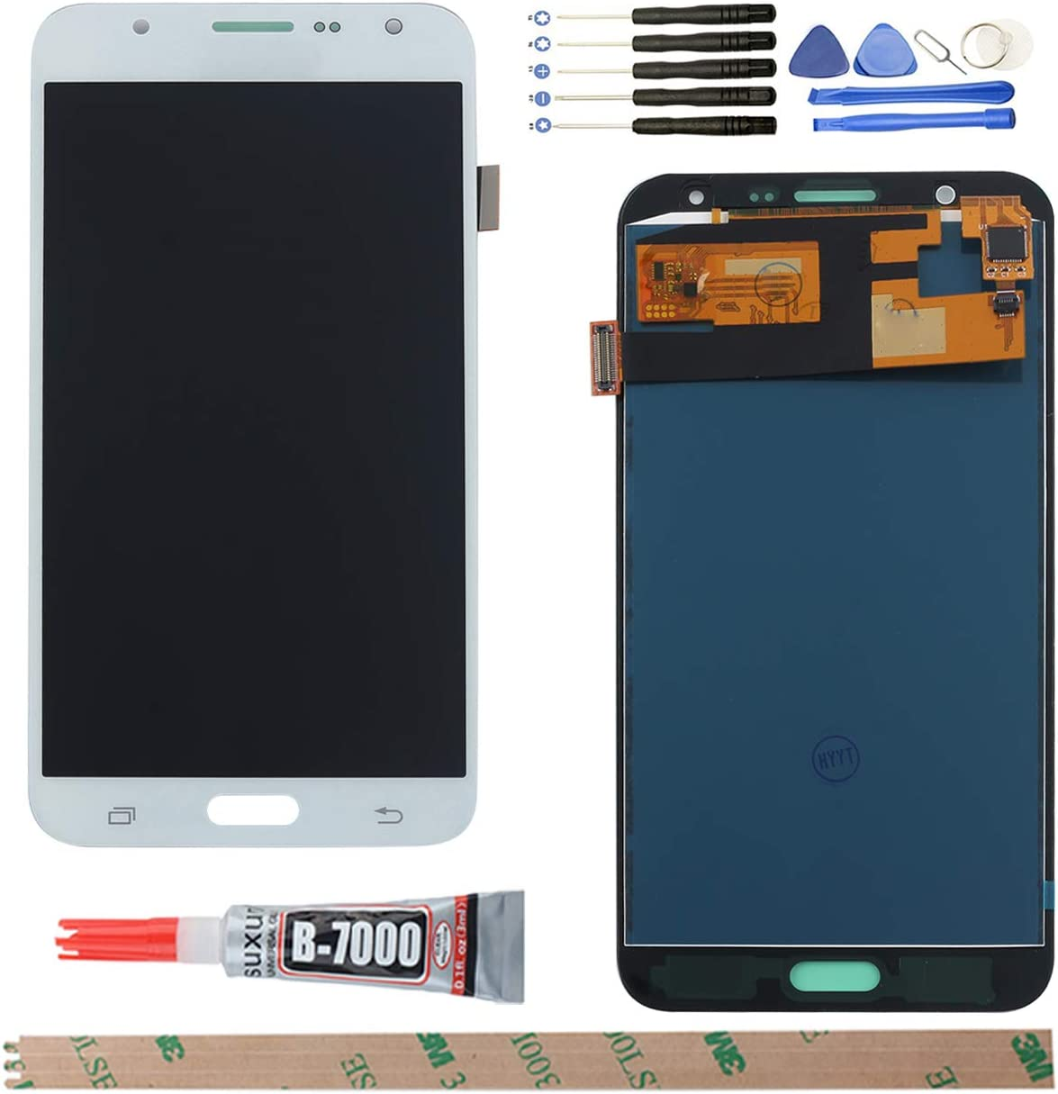 YHX-US Replacement for Samsung Galaxy J7 J700F J700F/DS J700H/DS J700M J700M/DS J700T J700P (2015) LCD Display Screen Touch Digitizer + A Set of Tools (White)