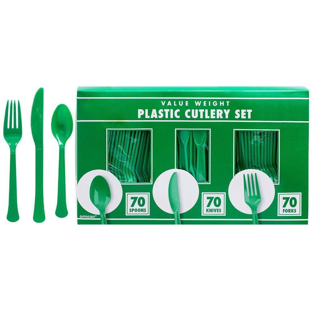 Amscan Festive Green Plastic Tableware Kit for 50 Guests, Party Supplies, Includes Table Covers, Plates, Cups and More by amscan (Image #7)