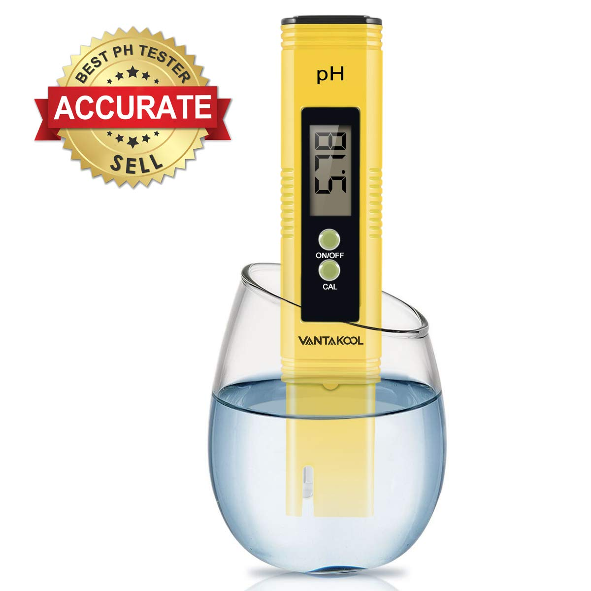 Digital PH Meter, EternalBe PH Meter 0.01 PH High Accuracy Water Quality Tester with 0-14 PH Measurement Range for Household Drinking, Pool and Aquarium Water PH Tester Design with ATC (Blue) (yellow) by EternalBe