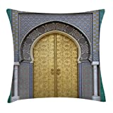 Ambesonne Moroccan Decor Throw Pillow Cushion Cover, Antique Doors Morocco Gold Doorknob Ornamental Intricate Artistic, Decorative Square Accent Pillow Case, 16 X 16 inches, Fern Green and Blue