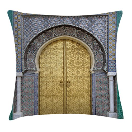 Ambesonne Moroccan Decor Throw Pillow Cushion Cover, Antique Doors Morocco Gold Doorknob Ornamental Intricate Artistic, Decorative Square Accent Pillow Case, 16 X 16 inches, Fern Green and Blue by Ambesonne