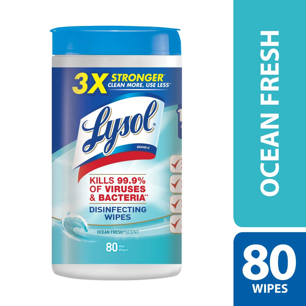 Lysol Disinfecting Wipes, Ocean Fresh, 80ct,Packaging May Vary