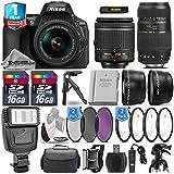 Holiday Saving Bundle for D5600 DSLR Camera + 18-55mm VR Lens + Tamron 70-300mm Di LD Lens + 0.43X Wide Angle Lens + 2.2x Telephoto Lens + Backup Battery + Flash - International Version