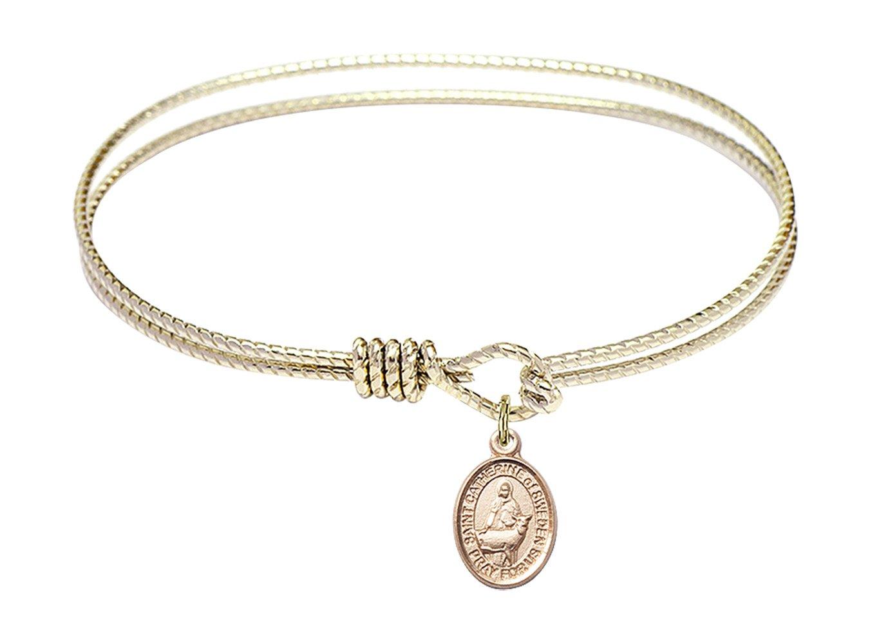 7 1/4 inch Oval Eye Hook Bangle Bracelet w/St. Catherine of Sweden in Gold-Filled