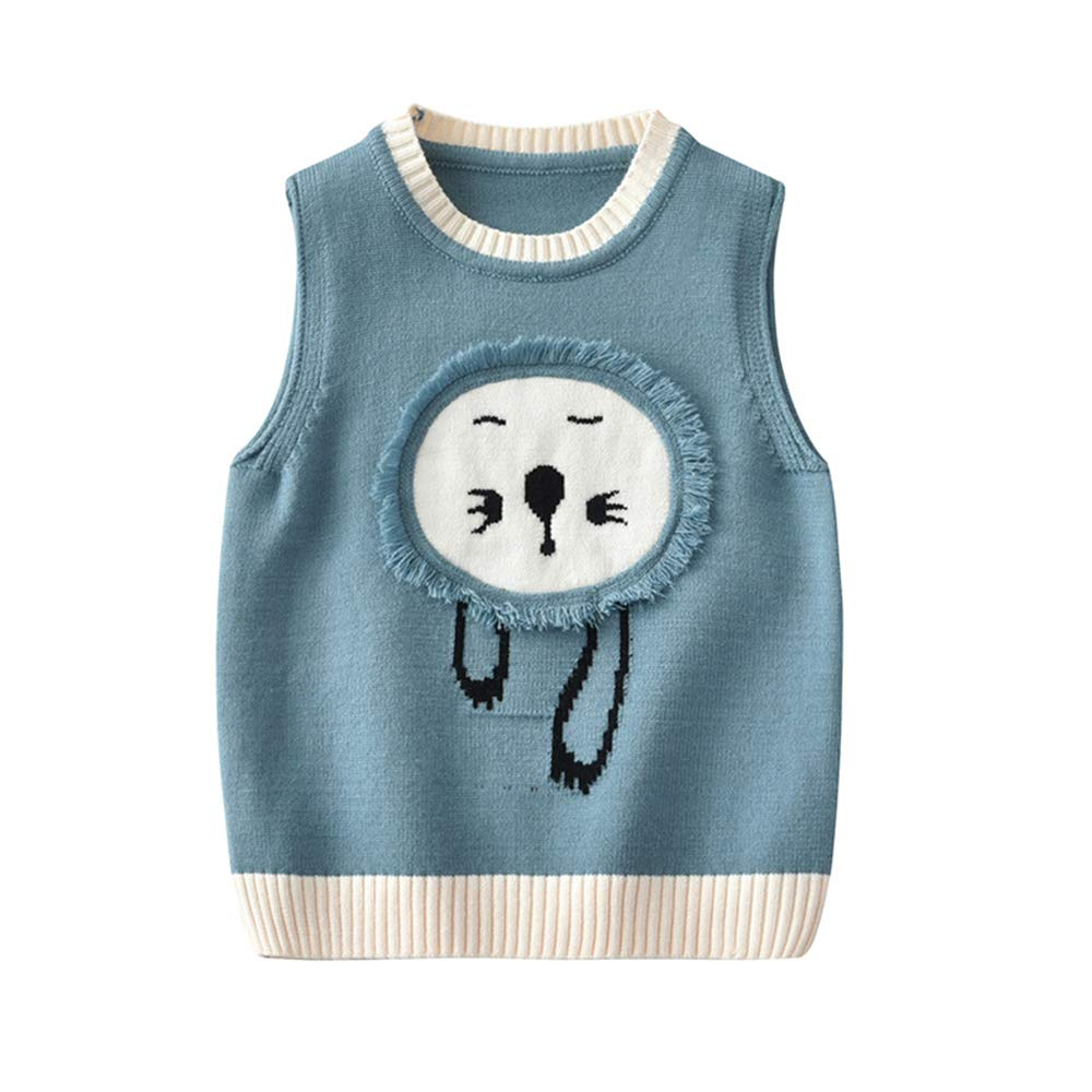 Anbaby Baby Boy's Sweater Vest Kids Lion Round Neck Pullover Vest (S (Suitable for Height 33.5 inch), Blue)