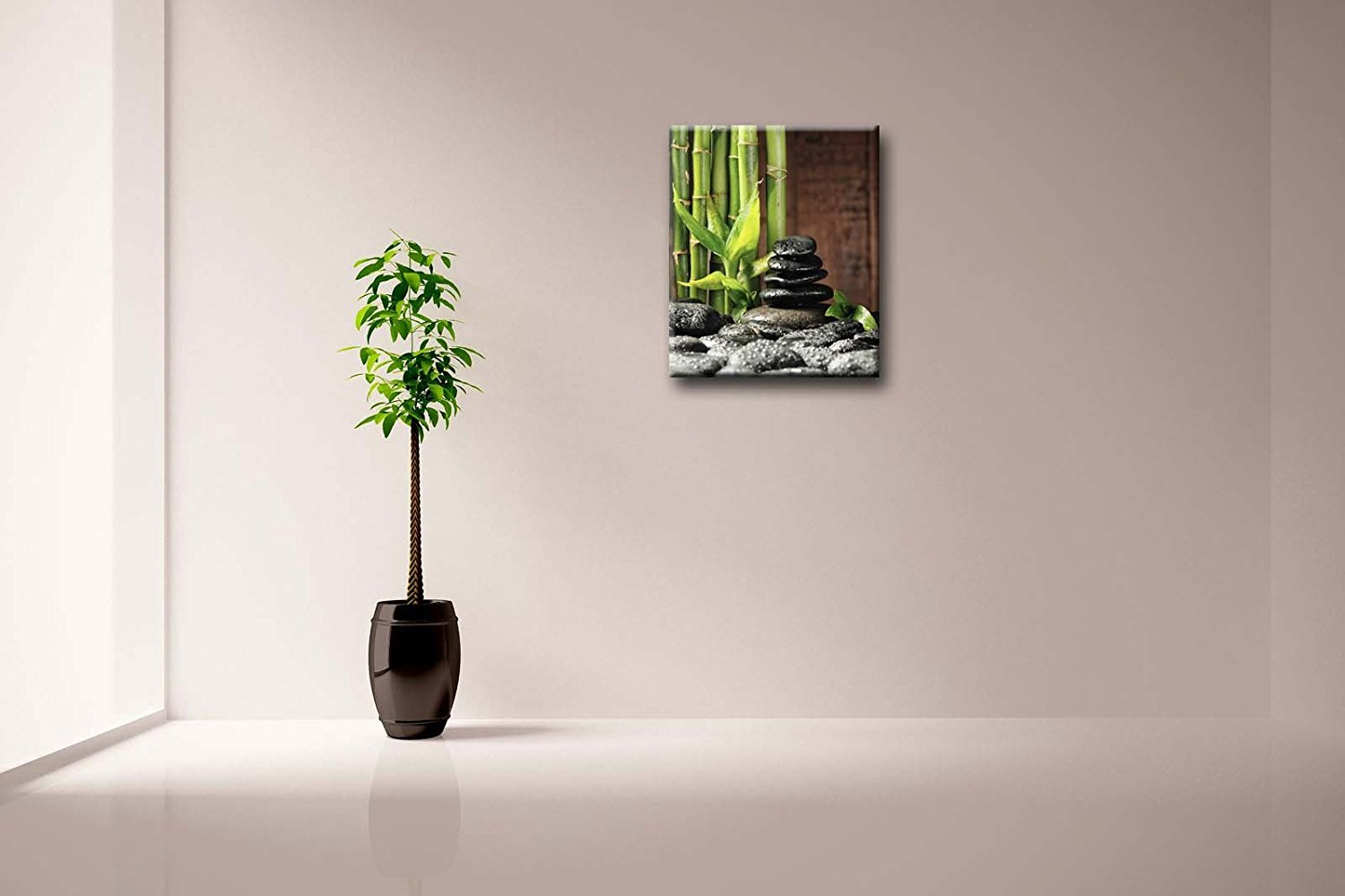 Crystal Emotion Green Spa Concept Bamboo Grove And Black Zen Stones On The Old Wooden Background Wall Art Painting Pictures Print On Canvas Botanical 24x30inch