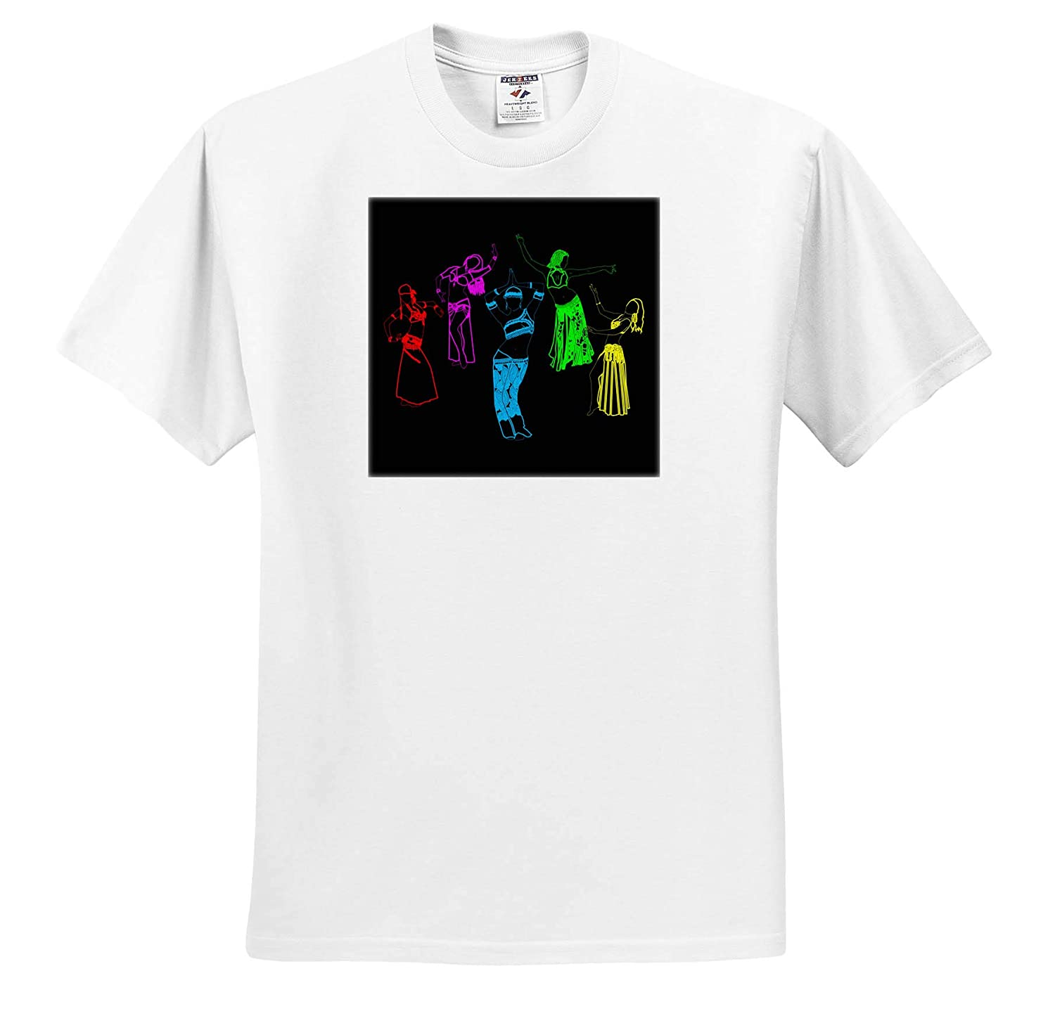 Dance T-Shirts Colorfully Outlined Silhouettes of Oriental Female Dancers on Black 3dRose Alexis Design