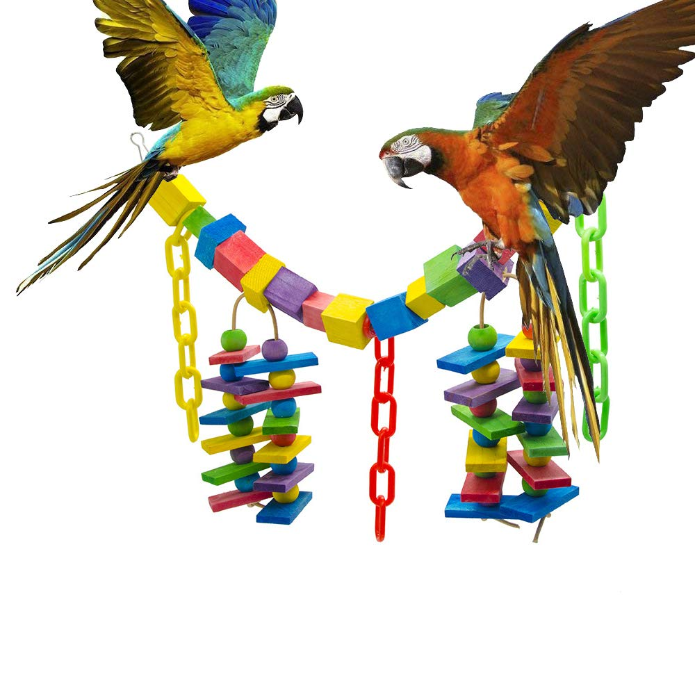 Bird Toy Parred Bite Toy color Wooden Block Plastic Chain Lanyard Soft Rainbow Bridge Bird Cage Habitat Decoration Pet Supplies