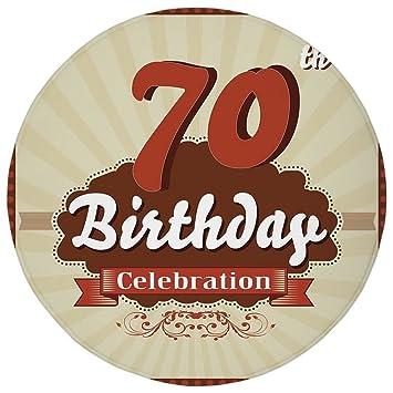 Round Rug Mat Carpet70th Birthday DecorationsVintage Candy Store Inspired 70 Celebration