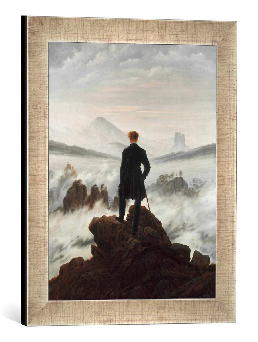Gerahmtes Bild von Caspar David FriedrichDer Wanderer über dem Nebelmeer, Kunstdruck im hochwertigen handgefertigten Bilder-Rahmen, 30x40 cm, Silber Raya