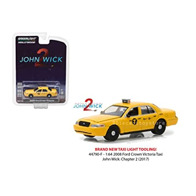 New 1:64 Greenlight Hollywood Series 19 Collection - John Wick: Chapter 2 (2020) - 2008 Ford Crown Victoria Taxi - Yellow Diecast Model Car By Greenlight: Toys & Games