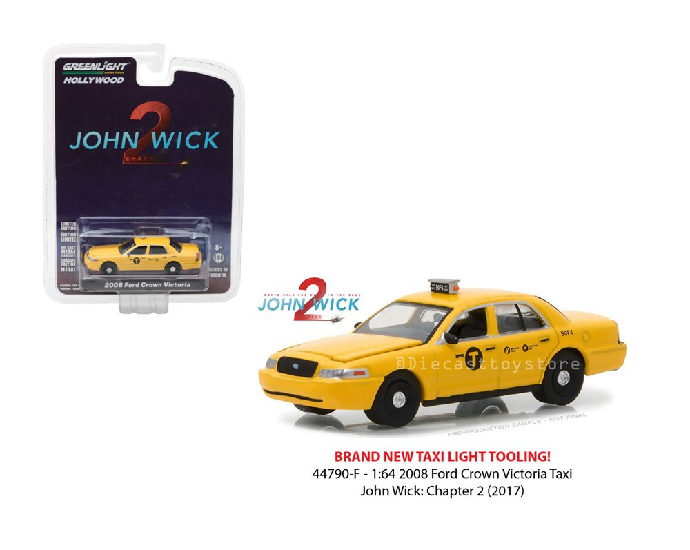 New 1:64 Greenlight Hollywood Series 19 Collection - John Wick: Chapter 2 (2017) - 2008 Ford Crown Victoria Taxi - Yellow Diecast Model Car By Greenlight