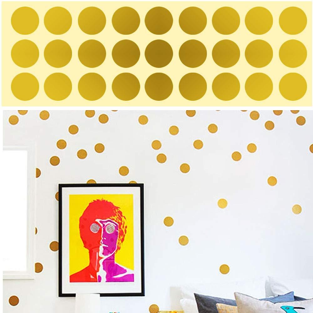 ETSAMOR 216 unids Polka Dot C/írculos Pegatinas de pared de oro redondo vinilo Lunares Pegatinas de pared Efecto Puntos met/álicos para la decoraci/ón del dormitorio Kids Party Supplies Cumplea/ños