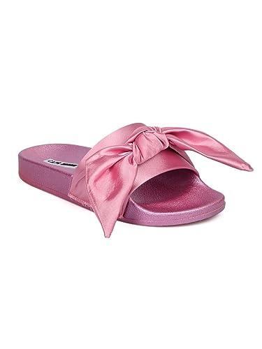 3e202df2b CAPE ROBBIN Women Satin Open Toe Bow Tie Slip On Flat Sandal GF82 - Pink (