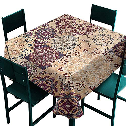 DONEECKL Waterproof Tablecloth Vintage Antique Morroccan Art Great for Buffet Table W54 xL54