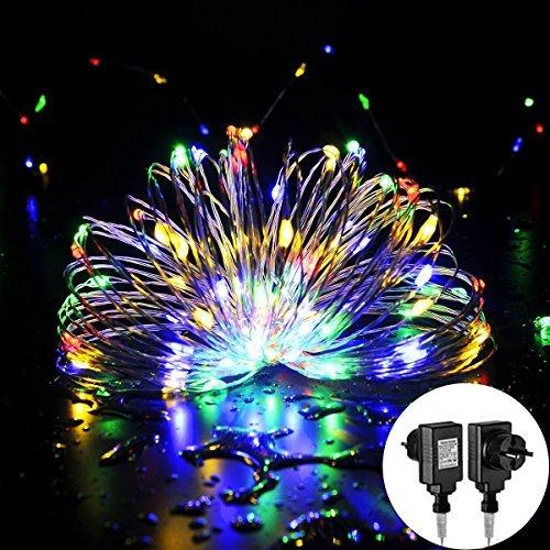 100 LED Guirlande Lumineuses Etanche 10M pour Noël, MORECOO Décoration de Jardin Guirlande Mini Guirlande Résistante à l'eau sur Câble Cuivre Fil avec Chaine de Lampes décoration pour Ma
