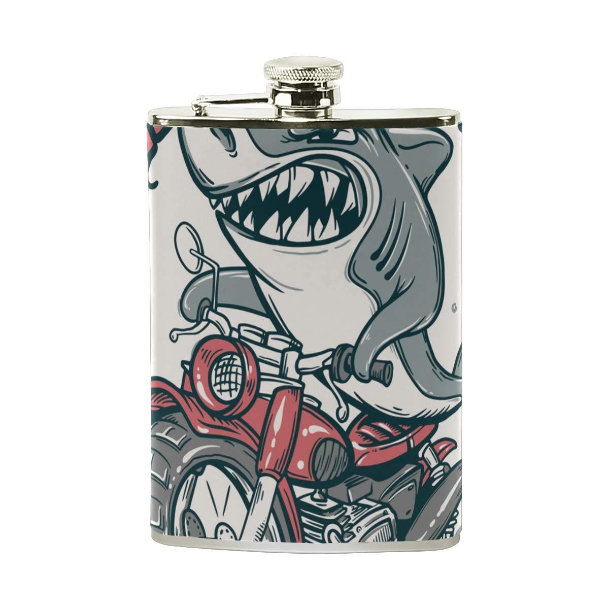 BALII Flasque humoristique en acier inoxydable Motif requin sur la hanche 227 ml