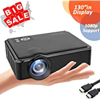 Portable Projector| 2400 Lumens LED Video Projector| Home TV Theater Projector supports 1080P, Compatible with Fire TV Stick, PS4, HDMI, VGA, TF, AV and USB with HDMI Cable