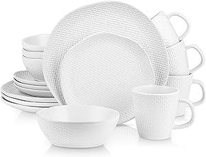 Stone Lain Organic Shape Weave Embossed Stoneware Dinnerware Set, Round Service for 8, White