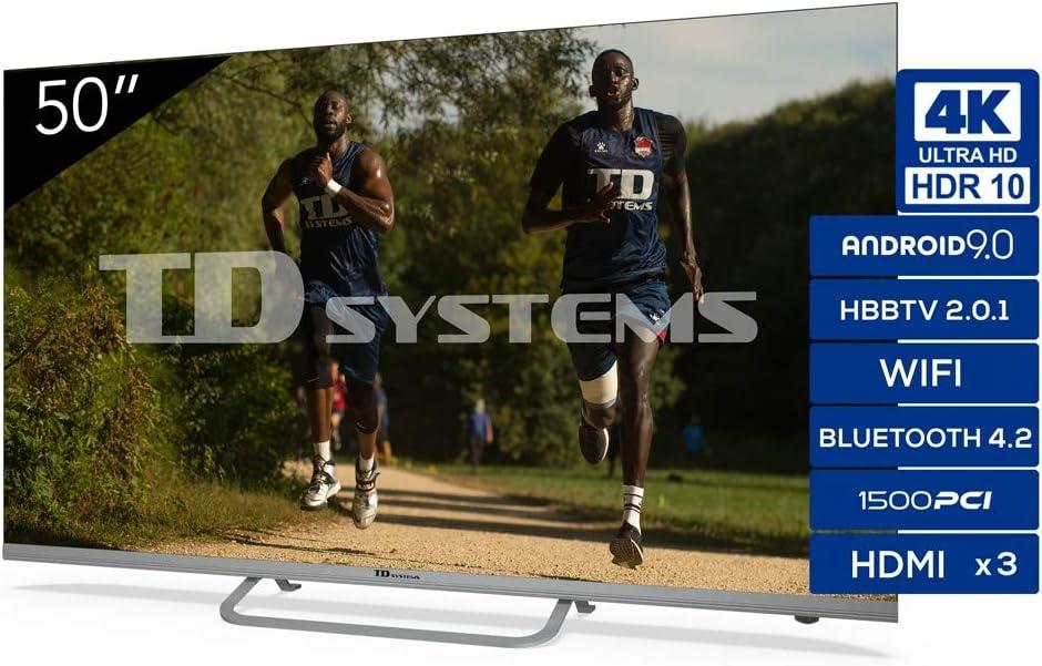 TD Systems Televisor 4K Smart TV Android 9.0 y HBBTV, 1500 PCI Hz UHD HDR, 3X HDMI, 2X USB. DVB-T2/C/S2, Modo Hotel - K50DLX11HS [Clase de eficiencia energética A] 50 Pulgadas: Amazon.es: