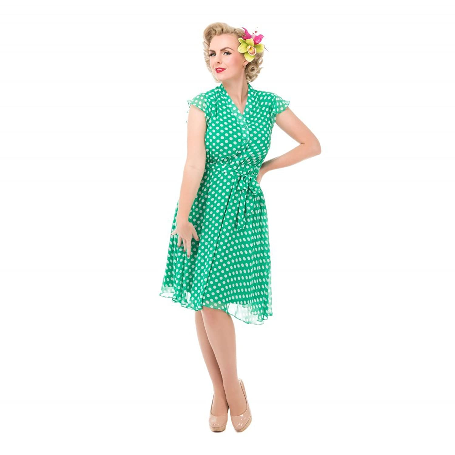 Lindy Bop 'Kody' Green Polka Dot Tea Dress