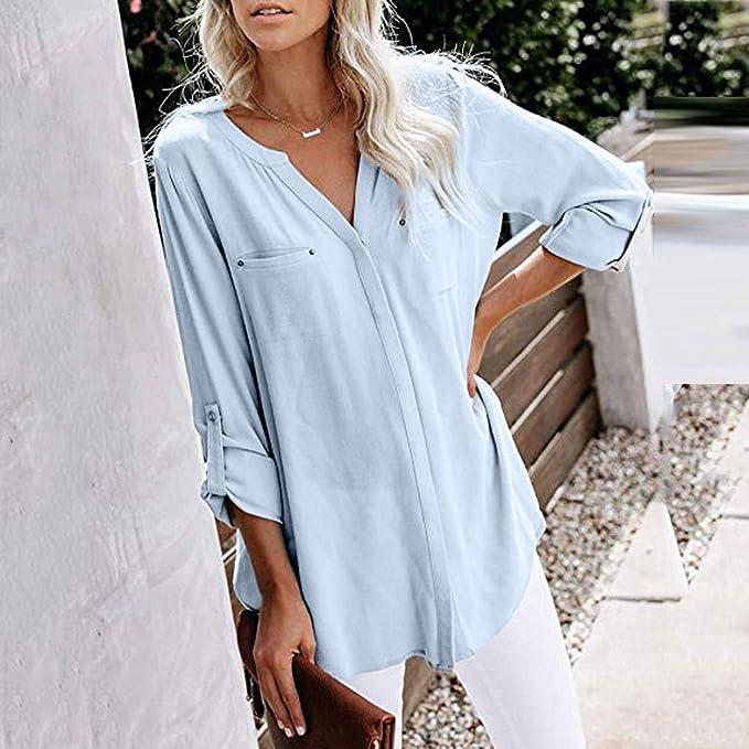 Camisas de Mujer Blusas de Moda Blusa Casual Cuello en V ...