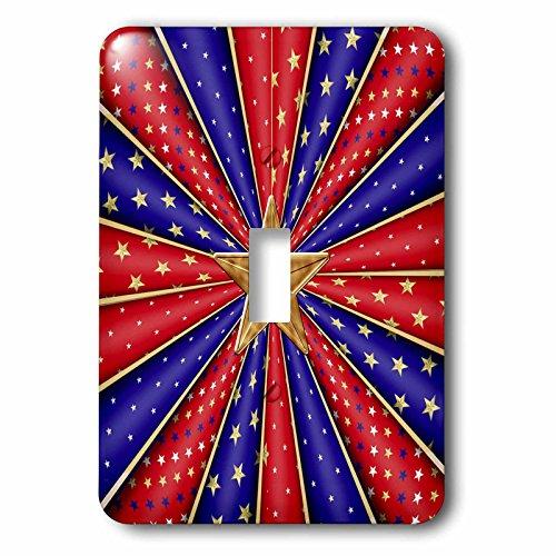 3dRose lsp_239583_1 Kaleidoscope Stripes, Red, Blue Big Gold Star Single Toggle Switch, White (Kaleidoscope Stripe)