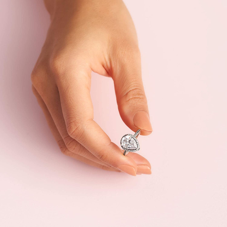 Damen Tropfen Ring 925 Sterling Silber plattiert Tropfenring NEU