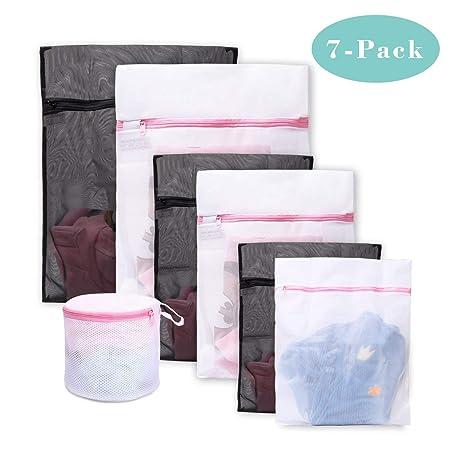 Bolsas para la colada ,Set de 7 Malla Bolsas de Lavandería /bolsas de lavadora Para Lavadora/Secadora/Colada/Lavar La Ropa Interior, Sostén, Prendas ...