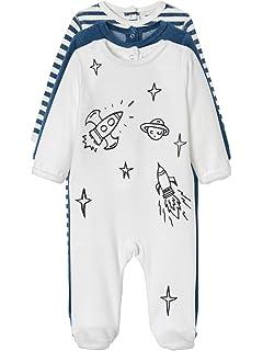 1910c91af VERTBAUDET Lote de 3 pijamas para bebé de terciopelo con automáticos en la  espalda Azul oscuro