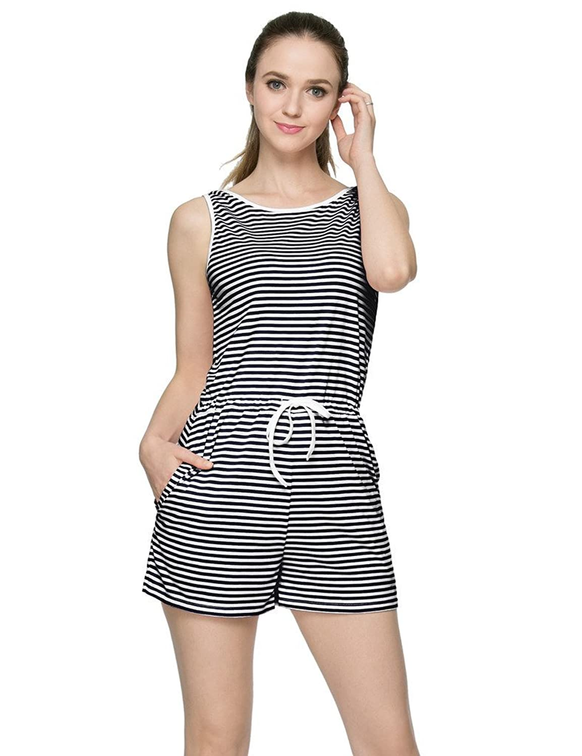JXStar Damen Leibchen ärmel Striped Sommer Playsuits S-XXL
