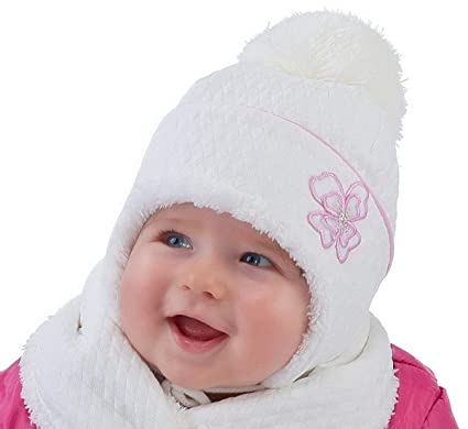 Baby Girl Hat   Scarf Infant Girls Winter Autumn Set Size 9 12 18 24 mths  NEW (9-12 months 46cm 8a8703655b6