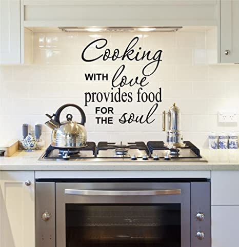 Amazon Com Kitchen Decals Cooking With Love Kitchen Wall Decals