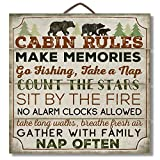 "Cheap Highland Graphics 12″ Wood Sign ""Cabin Rules"" with Bear Wall D飯r Multi"