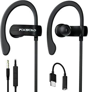 FIXSCAD Y171 Sports Earbuds Wired with Microphone, Soft Wrap Around Earphones with Over Ear Hook, in Ear Running Headphones for Exercise Compatible with Samsung, Free Type C to 3.5mm Adapter