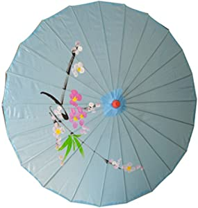 JapanBargain 2165, Asian Parasol Japanese Chinese Nylon Umbrella Parasol for Photography Cosplay Costumes Wedding Party Home Decoration Adult Size, 32 inch, Light Blue